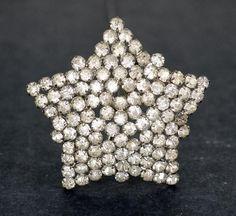antique hat pin rhinestone Victorian Edwardian  star extra large original 1800