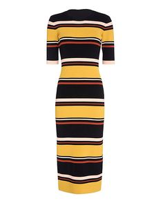 Exclusive for Intermix Wyatt Striped Mid-Length Ribbed Knit Dress: The midi dress has a flattering cut especially along with slendering stripes. Close ribbed knit. 3/4 sleeve. In mustard/black/white stripes. Fabric: 70% rayon/28% nylon/2% spandex Made in China.  Model Measurements: Height 5'10 1/2; Waist 24 ; Bust 31 ...