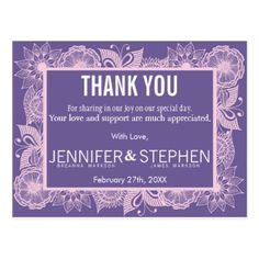 Violet and Blush Pink Floral Thank You Postcards - purple floral style gifts flower flowers diy customize unique