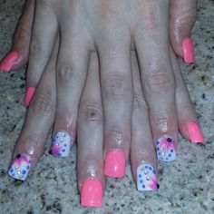 Pretty pink orange white nails with 3d flowers nail designs nail art