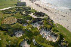 Neolithic Settlement, UNESCO World Heritage Site.Skara Bae, Orkney Islands. Kite Aerial Photograph.