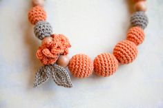 nursing necklace teething necklace by bysiki on Etsy Amber Teething Necklace, Baby Necklace, Nursing Necklace, Crochet Necklace, Crochet Toys, Crochet Baby, Knit Crochet, Fabric Jewelry, Beaded Jewelry