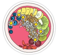 How To Draw Handdrawn Acai Bowl Design Sticker - Food Stickers, Printable Stickers, Laptop Stickers, Cute Stickers, Free Printable, Strate Design, Papel Sticker, Bowl Logo, Cool Paper Crafts