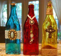 Decorative bottles by SugarShakDesigns on Etsy