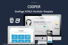 Cooper OnePage HTML5 Portfolio by Pixelogical on Creative Market
