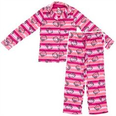 88523907894 Hello Kitty Pink Striped Fleece Pajamas for Juniors Hello Kitty fans will  love these warm fleece pjs. The print includes pink and orange stripes as  well as ...