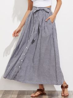 Oversized Maxi Skirts Decorated with Knot, Button, Belted. High Waist. Striped design. Trend of Spring-2018, Summer-2018. Designed in Grey. Fabric has no stretch.
