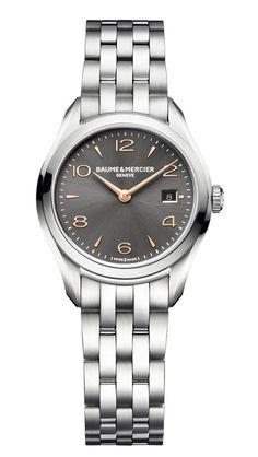 Baume & Mercier Clifton Quartz 30 mm Grey, Ladies Watch - швейцарские часы, женские наручные