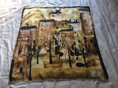 Beautiful Maggy Rouff Pictorial Silk Scarf - Winter Scene - Vintage 1960s