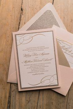 THERESA Suite Panel Pocket Package, blush and gold, affordable luxury wedding invitations, letterpress, glitter envelope liner