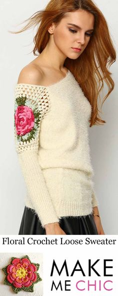 Giving you a hint of vintage to your winter wardrobe is this off-white sweater. It comes with a floral chochet that stretches from the neckline to the sleeves, then finished with an uneven