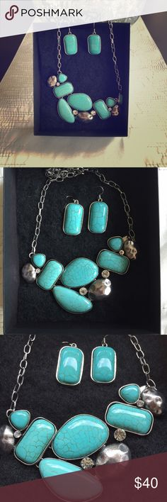 Beautiful New Necklace and Earrings I bought this beautiful handcrafted set in a Boutique in Santa Fe, New Mexico. Never worn. (Neckless and earrings are a set) Jewelry Necklaces