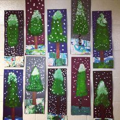 Skinny pine trees. #paintedpaper #artroom #artdisplays #elementaryartdisplays #elementaryart