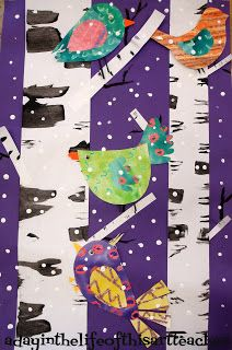A day in the life of this art teacher: Birds and Birch Trees Winter Art Project Winter Art Projects, Art Projects For Adults, School Art Projects, Winter Project, Collaborative Art Projects For Kids, Art Club Projects, Winter Craft, Kindergarten Art, Preschool Art