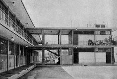 Escuela Primaria de la colonia San Simón [Centenario y Pascual Ortiz Rubio], San Simón Tucumac, México D.F., 1932 [modificada] - Juan O'Gorman
