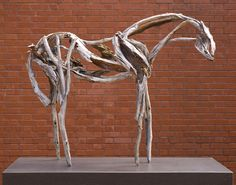 """""""Lunalilo"""", 2008, Deborah Butterfield, American (b. 1949), bronze, 40 3/4 x 50 3/4 x 14 1/4 in. Museum purchase with funds from the Weatherspoon Art Museum Acquisition Endowment, the Lynn Richardson Prickett Acquisition Endowment, the Frances Stern Loewenstein Acquisition Endowment, the Jane and Richard Levy Sculpture Fund, the Louise D. and Herbert S. Falk Acquisition Endowment, and the Judy Proctor Acquisition Endowment, 2009. 2009.11"""