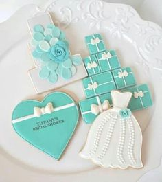 Tiffany Blue Bridal Shower Die Cut Dress by. Tiffany Blue, Tiffany Theme, Tiffany Party, Tiffany Wedding, Tiffany Cakes, Azul Tiffany, Fancy Cookies, Iced Cookies, Cute Cookies