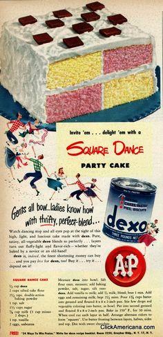 Square dance party cake it's a cake! It's a board game! It's a cake! It's a board game! oh, you get the idea. Retro Recipes, Old Recipes, Vintage Recipes, Cake Recipes, 1950s Recipes, Frosting Recipes, Cupcakes, Cupcake Cakes, Vintage Baking