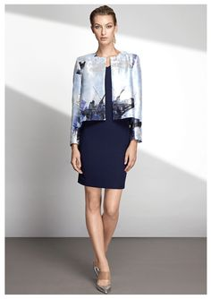 DESCRIPTION Ida Jacket is slim-fit and collarless piece made of vibrant Metallic graphic print. The Lurex Jacquard fabric is lined with soft silk for comfort an Business Fashion, Business Style, Blush Outfit, Catwalk Fashion, Jacquard Fabric, Celebrity Style, Dresses For Work, Fashion Design, Fashion Trends