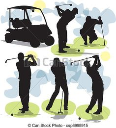 Vector - set vector Golf silhouettes - stock illustration, royalty free illustrations, stock clip art icon, stock clipart icons, logo, line art, EPS picture, pictures, graphic, graphics, drawing, drawings, vector image, artwork, EPS vector art