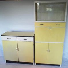 Retro 1950's kitchen counter and lader unit larder cupboards cabinets vintage