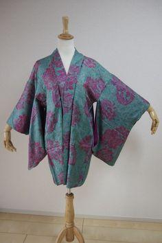 Kimono Dress Japan Vintage haori coat robe Geisha costume used silk KDJM-H0153