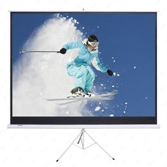 """AURORA 100"""" Portable Projector Screen,100 Inch Diagonal Projection HD 16:9 Projection Pull Up Foldable Stand Tripod"""