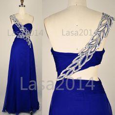 Blue Prom Dresses Long Prom Dress One Shoulder Royal by LASA2014, $169.00