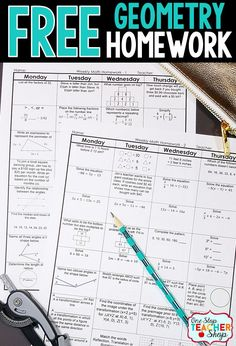 Free Math Homework for Geometry. This Geometry math homework is aligned with the common core math standards. Can also be used as warm-ups or bell wringers. Teaching Geometry, Teaching Math, Geometry Lessons, Geometry Activities, Geometry Worksheets, Math Literacy, Teaching Ideas, Math Teacher, Math Classroom