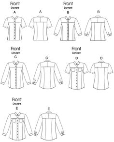 V8689 | Misses' Button-Down Yoke Shirts Sewing Pattern | Vogue Patterns