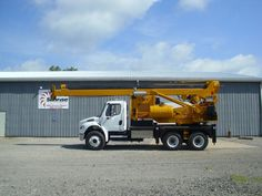 """Watson 1100 on a 2008 Freightliner M2 106 Pressure Digger.  The auger will drill a depth of up to 50' and can spin an auger 48"""" wide.  It is completely reconditioned with all new mast, and new cables.  A job ready rig with a fresh new like appearance. Available NOW!  http://www.sunriseequipment.com/watson-1100-on-2008-freightliner"""