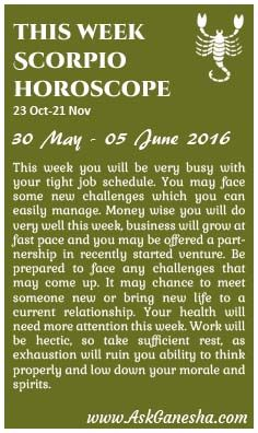 Get your Scorpio Weekly Horoscope and your Scorpio weekly predictions from AskGanesha. Weekly horoscopes with Scorpio compatibility charts are available Scorpio Compatibility Chart, All About Scorpio, Astrology Predictions, Focus On Your Goals, Improve Yourself, Positivity, How To Get, June