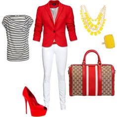 red, white and gucci, created by lisapykkonen on Polyvore