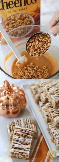 Butterscotch Pumpkin Cheerio Treat Bars - Fall Baking - Pumpkin Spice