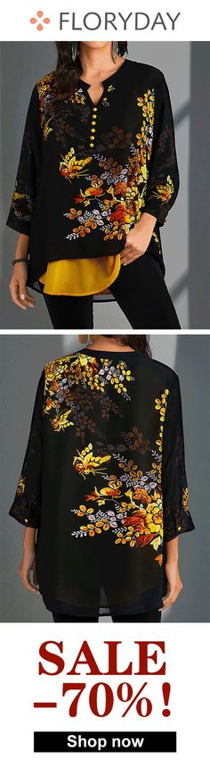Plus size floral v-neckline sleeves blouse, plus size, tops, outfits. Trendy Outfits, Cute Outfits, Cute Fashion, Womens Fashion, Clothing Hacks, Fashion Sewing, Plus Size Blouses, Matching Outfits, Women's Fashion Dresses