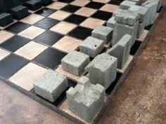concrete chess board and pieces