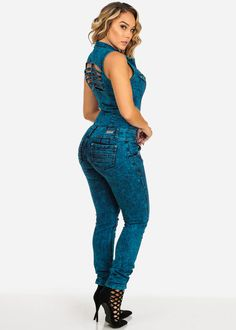 Sleeveless Teal Wash Butt-Lifting Ripped Denim Jumpsuit