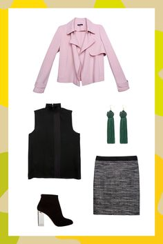 5 Power Outfits To Make You Stop Dreading Monday #refinery29 http://www.refinery29.com/power-outfits-by-industry-macys-workwear#slide-1 Business attire doesn't have to be blah. Bring some office-approved fun to your outfit by throwing a pink-hued jacket on top. It'll brighten up your day (and your cubicle). Macy's skirt....