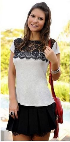 Stylish Round Neck Lace Splicing Slimming Short Sleeve T-Shirt For Women Custom Clothes, Diy Clothes, Diy Fashion, Womens Fashion, Fashion Site, Collar Styles, Lace Tops, Corsage, Refashion
