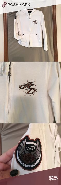 Harley-Davidson White Zip Hoodie 105th Anniversary Harley-Davidson White Zip Hoodie 105th Anniversary, this hoodie is in excellent condition at nearly 10 years old! Collectors item for sure!! Medium Harley-Davidson Tops Sweatshirts & Hoodies