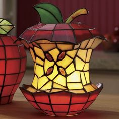 stained glass eaten apple lamp