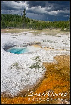 ✯ Storm coming over Natural Hot Springs - Yellowstone National Park