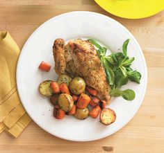 Spatchcock Brined Chicken with Roast Carrots & Potatoes. #food #chicken #dinner