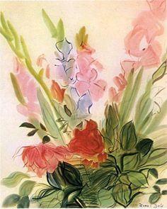 Gladioli, 1942 -Raoul Dufy - by style - Naïve Art (Primitivism)