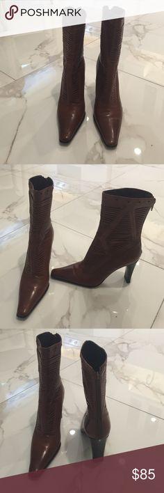 "Via Spiga mid calf boot Chestnut brown boot worn once. Heel is 3 1:2 "" high. Boot is 11 3/4 high Via Spiga Shoes"