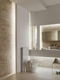couleur salle de bain taupe, decoration murale avec led, sol et murs en beige