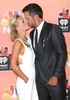 Pin for Later: Everything You Missed at the iHeartRadio Music Awards Luke Bryan Kissed His Wife on the Red Carpet