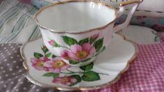 Vintage teacup, Salisbury tea cup and saucer. Pretty pink primrose teacup