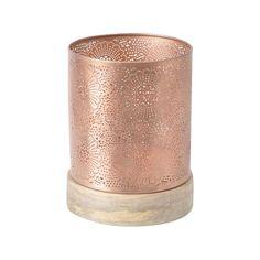Libra Merle Copper Finish Hurricane Lamp on Wooden Base | Prezola - The Wedding Gift List