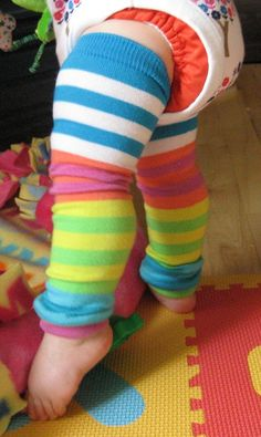 Baby Leg Warmers - Bright Rainbow Colorblock Stripes, baby legs, baby girl, baby shower gift by fruitpants on etsy